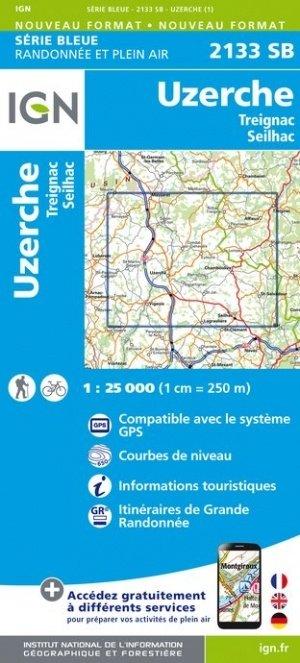 SB-2133SB Uzerche, Treignac, Seilhac | wandelkaart 1:25.000 9782758542025  IGN Serie Bleue (vernieuwd)  Wandelkaarten Haute-Vienne, Creuse, Corrèze