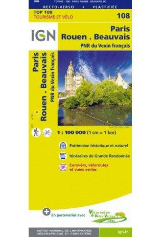 SV-108  Paris, Rouen 9782758543589  IGN Série Verte 1:100.000  Fietskaarten, Landkaarten en wegenkaarten Normandië
