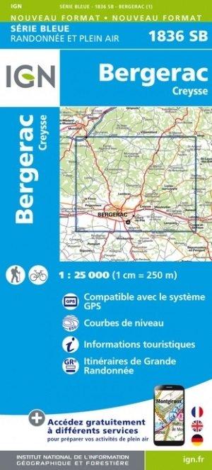 SB-1836SB Bergerac, Creysse | wandelkaart 1:25.000 9782758548188  IGN Serie Bleue (vernieuwd)  Wandelkaarten Haute-Vienne, Creuse, Corrèze