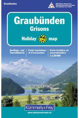 Graubünden 1:120.000 9783259009079  Kümmerly & Frey Holiday Maps  Landkaarten en wegenkaarten Graubünden, Tessin