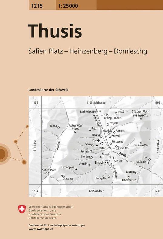 CH-1215  Thusis [2015] topografische wandelkaart 9783302012155  Bundesamt / Swisstopo LKS 1:25.000  Wandelkaarten Graubünden, Tessin
