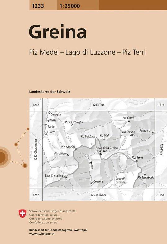 CH-1233  Greina, Piz Medel [2015] topografische wandelkaart 9783302012339  Bundesamt / Swisstopo LKS 1:25.000  Wandelkaarten Graubünden, Tessin