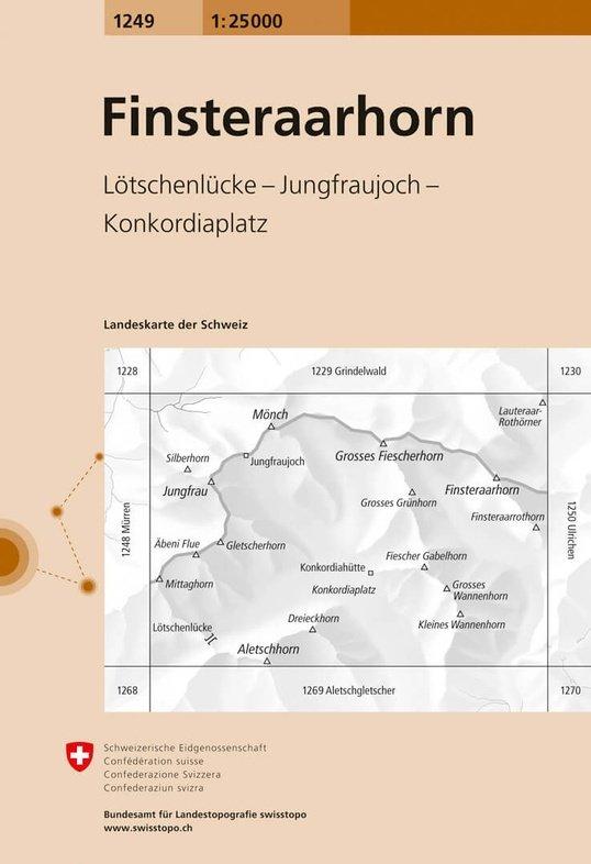 CH-1249  Finsteraarhorn [2013] topografische wandelkaart 9783302012490  Bundesamt / Swisstopo LKS 1:25.000  Wandelkaarten Berner Oberland, Basel, Jura, Genève