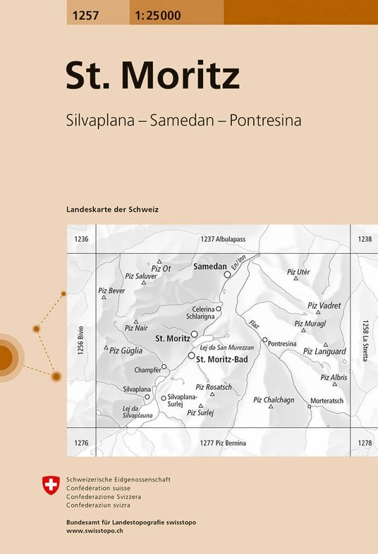 CH-1257  Sankt Moritz [2017] topografische wandelkaart 9783302012575  Bundesamt / Swisstopo LKS 1:25.000  Wandelkaarten Graubünden, Tessin