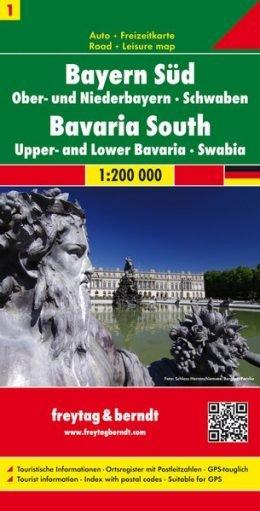 FBD-01 Zuid- en Midden-Beieren 1:200.000 9783707904475  Freytag & Berndt Duitsland 1:200.000  Landkaarten en wegenkaarten Beieren zonder de Alpen