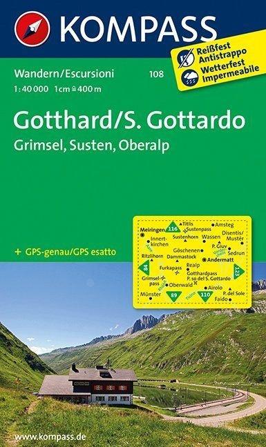 KP-108 Gotthard | Kompass wandelkaart 9783850269650  Kompass Wandelkaarten   Wandelkaarten Graubünden, Tessin