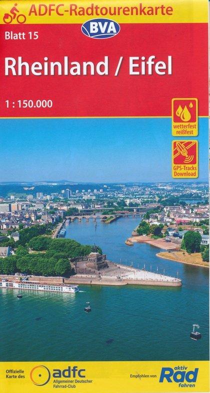 ADFC-15 Rheinland/Eifel | fietskaart 1:150.000 9783870739256  ADFC / BVA Radtourenkarten 1:150.000  Fietskaarten Eifel