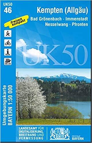 UK50-46  Kempten u.Umg. 9783899336429  LVA Bayern UmgebungsKarte 1:50.000  Wandelkaarten Beierse Alpen en München