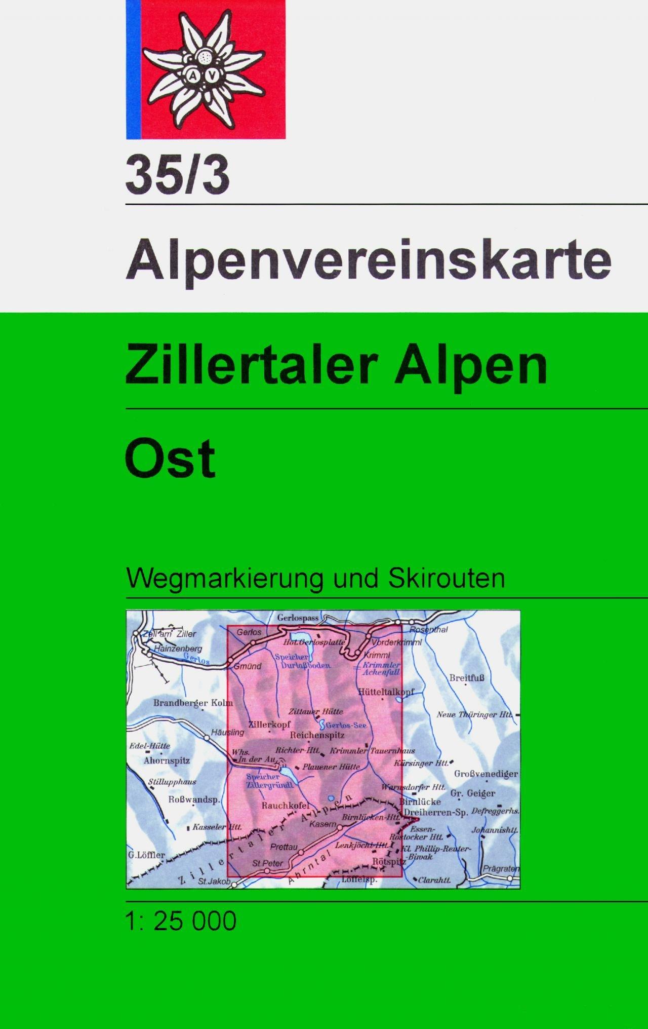 AV-35/3 Zillertaler Alpen/Ost [2018] Alpenvereinskarte wandelkaart 9783928777858  AlpenVerein Alpenvereinskarten  Wandelkaarten Tirol & Vorarlberg