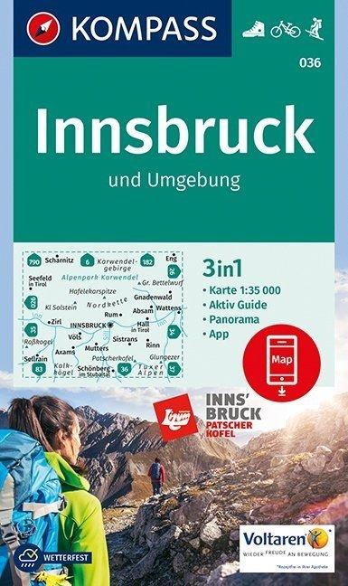 KP-036 Innsbruck und Umgebung | Kompass wandelkaart 9783990443798  Kompass Wandelkaarten   Wandelkaarten Tirol & Vorarlberg
