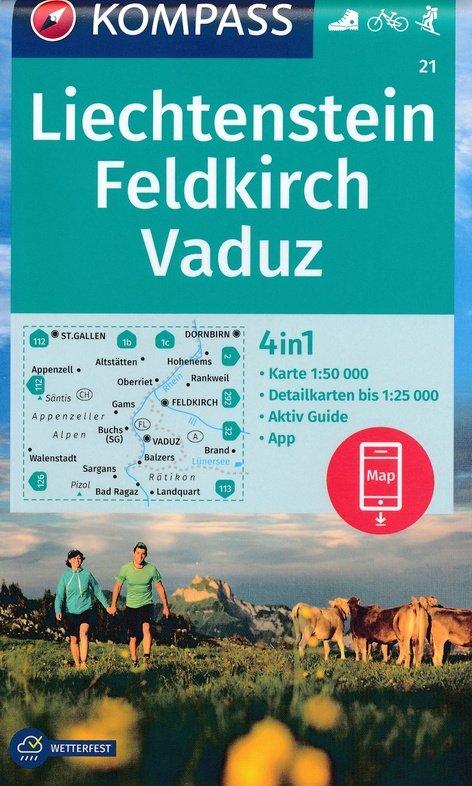 KP-21 Feldkirch-Vaduz, Liechtenstein | Kompass wandelkaart 9783990446324  Kompass Wandelkaarten   Wandelkaarten Tirol & Vorarlberg