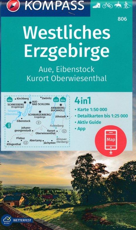 KP-806  Westliches Erzgebirge | Kompass wandelkaart 1:50.000 9783990447246  Kompass Wandelkaarten Kompass Duitsland  Wandelkaarten Erzgebirge, Elbsandsteingebirge, Lausitz