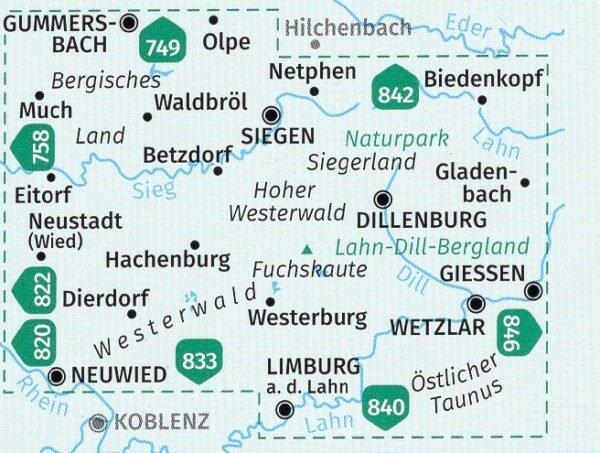 KP-847 Westerwald, Sieg  1:50.000 9783990447321  Kompass Wandelkaarten Kompass Duitsland  Wandelkaarten Mittelrhein, Loreley, Westerwald