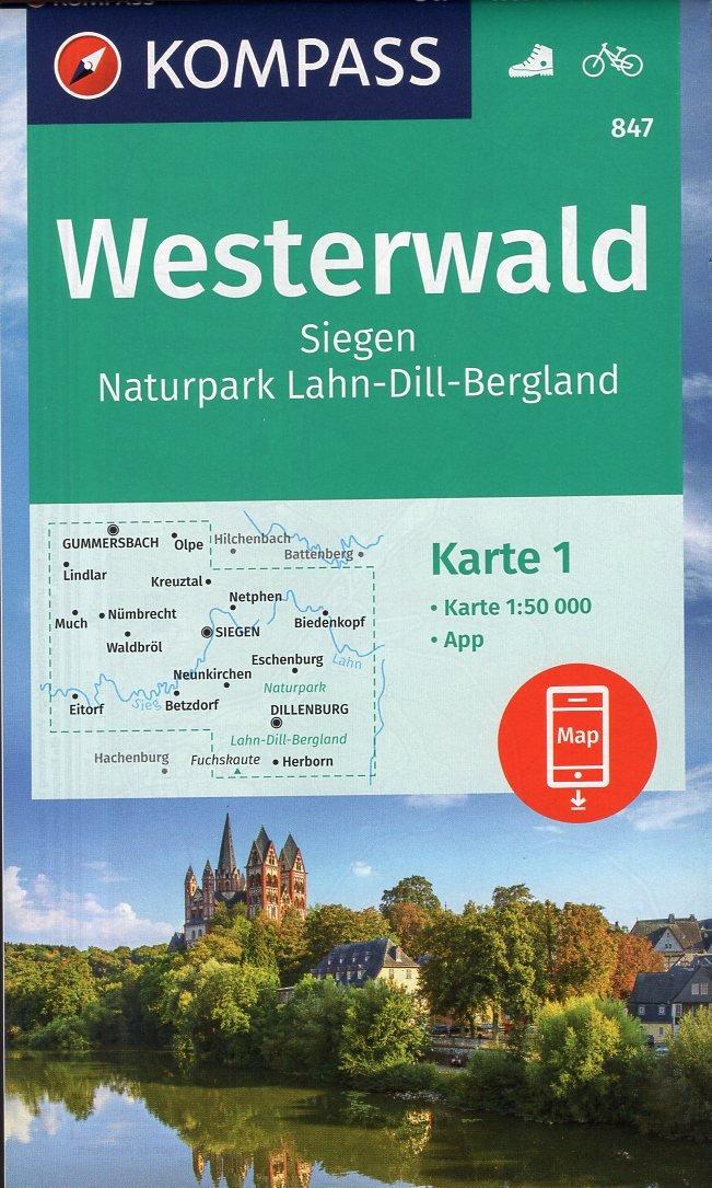 KP-847 Westerwald, Sieg  1:50.000 9783990447321  Kompass   Wandelkaarten Eifel, Moezel, Rheinland-Pfalz