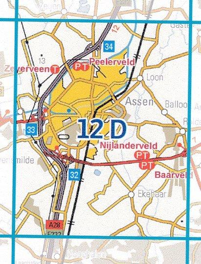 12D  Assen 1:25.000 9789035001237  Topografische Dienst / Kadaster Topografische Kaart  Wandelkaarten Drenthe