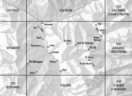 CH-1236  Savognin [2011] topografische wandelkaart * CH1236  Bundesamt / Swisstopo LKS 1:25.000  Wandelkaarten Graubünden, Tessin