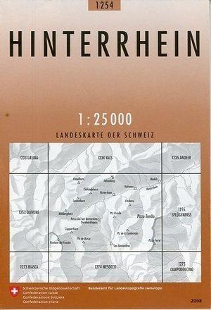 CH-1254  Hinterrhein [2008] topografische wandelkaart CH1254  Bundesamt / Swisstopo LKS 1:25.000  Wandelkaarten Graubünden, Tessin