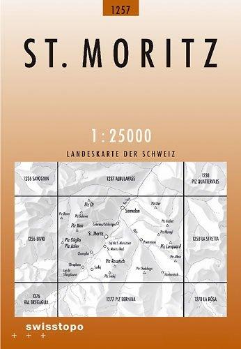 CH-1257  St.Moritz [2011] topografische wandelkaart CH1257  Bundesamt / Swisstopo LKS 1:25.000  Wandelkaarten Graubünden, Tessin