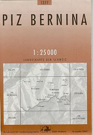 CH-1277  Piz Bernina [2011] topografische wandelkaart * CH1277  Bundesamt / Swisstopo LKS 1:25.000  Wandelkaarten Graubünden, Tessin