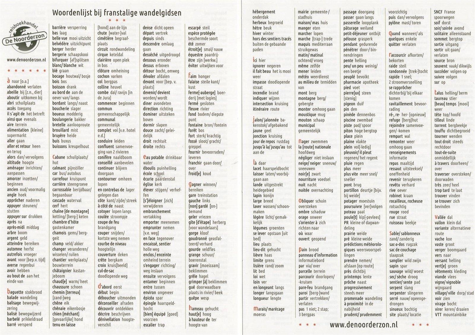 Frans-Nederlandse Wandelwoordenlijst FWW Leon Receveur De Noorderzon   Santiago de Compostela, Taalgidsen en Woordenboeken, Wandelgidsen Frankrijk