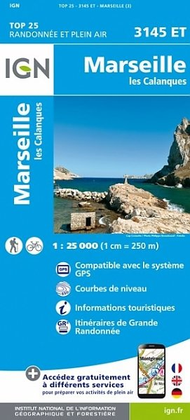 3145ET  omg. Marseille, les Calanques | wandelkaart 1:25.000 9782758539780  IGN TOP 25  Wandelkaarten tussen Valence, Briançon, Camargue en Nice