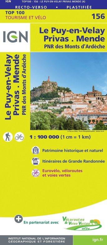 SV-156  Le Puy-en-Velay, Privas 9782758547686  IGN Série Verte 1:100.000  Landkaarten en wegenkaarten, Fietskaarten Auvergne, Cantal, Forez