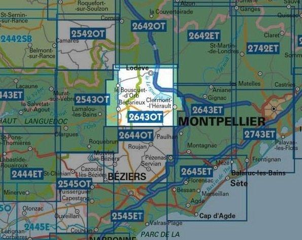 2643OT  Lodève, Lac du Salagou | wandelkaart 1:25.000 9782758548782  IGN TOP 25  Wandelkaarten Languedoc, Hérault, Aude
