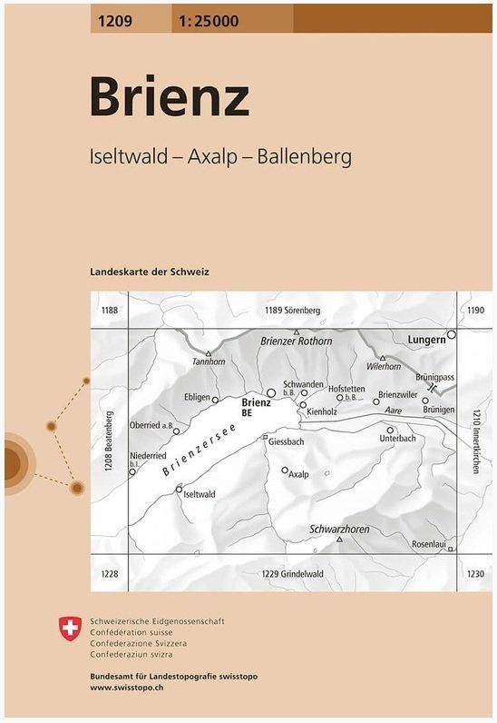 CH-1209  Brienz [2015] topografische wandelkaart 9783302012094  Bundesamt / Swisstopo LKS 1:25.000  Wandelkaarten Berner Oberland, Basel, Jura, Genève