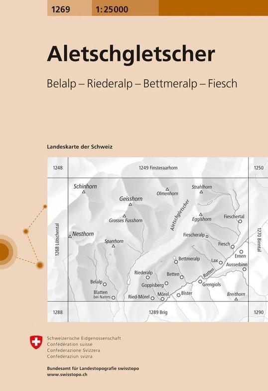 CH-1269  Aletschgletscher [2013] topografische wandelkaart 9783302012698  Bundesamt / Swisstopo LKS 1:25.000  Wandelkaarten Wallis