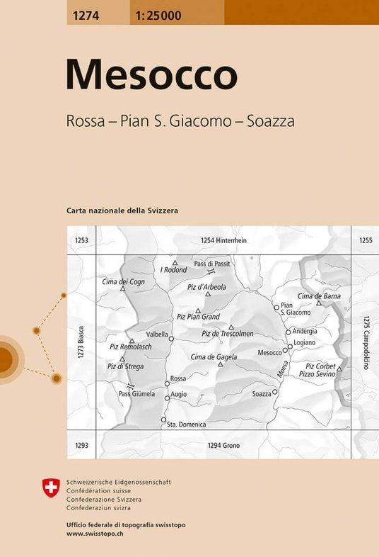 CH-1274  Mesocco [2018] topografische wandelkaart 9783302012742  Bundesamt / Swisstopo LKS 1:25.000  Wandelkaarten Graubünden, Tessin