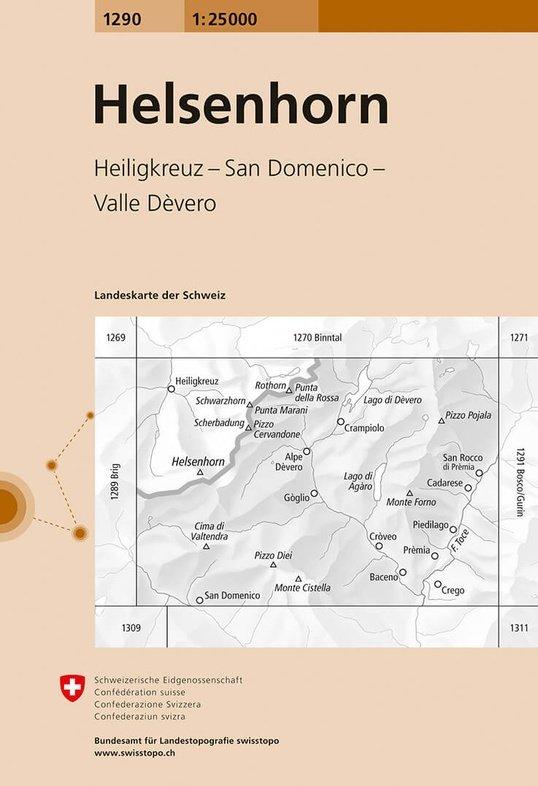 CH-1290  Helsenhorn, Pizzo Diei, Crego [2014] topografische wandelkaart 9783302012902  Bundesamt / Swisstopo LKS 1:25.000  Wandelkaarten Wallis