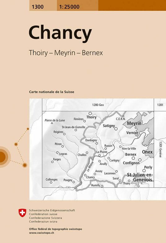 CH-1300 Chancy [2017] topografische wandelkaart 9783302013008  Bundesamt / Swisstopo LKS 1:25.000  Wandelkaarten Berner Oberland, Basel, Jura, Genève