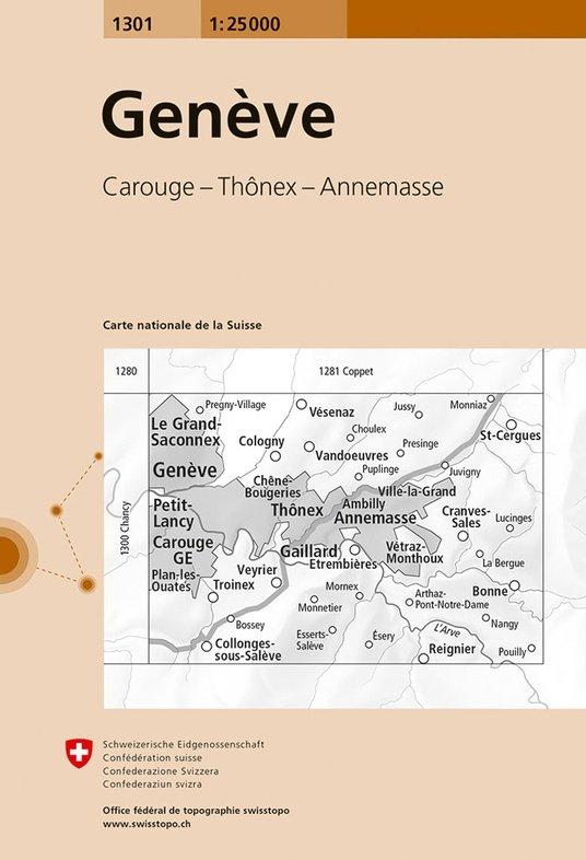 CH-1301 Genève [2017] topografische wandelkaart 9783302013015  Bundesamt / Swisstopo LKS 1:25.000  Wandelkaarten Berner Oberland, Basel, Jura, Genève