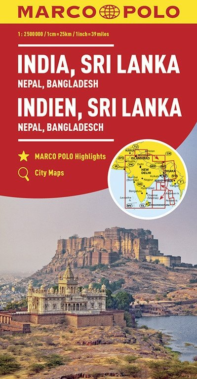 India, Sri Lanka, Nepal, Bangladesh landkaart / overzichtskaart 1:2.500.000 9783829739443  Marco Polo (D)   Landkaarten en wegenkaarten Pakistan, India, Bangladesh, Sri Lanka, Malediven