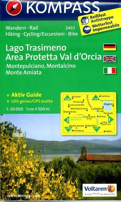 KP-2463 Lago Trasimeno/Val di Chiana/Chianciano Terme 1:50.000 | Kompass wandelkaart * 9783850266062  Kompass Wandelkaarten   Wandelkaarten Toscane, Umbrië, de Marken