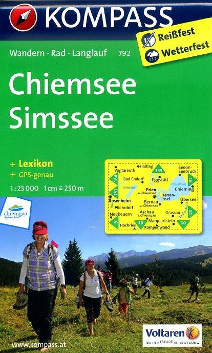 KP-792 Chiemsee / Simssee | Kompass wandelkaart * 9783850266673  Kompass Wandelkaarten Kompass Duitsland  Wandelkaarten Beierse Alpen