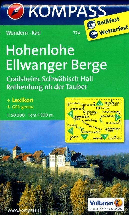 KP-774  Hohenlohe, Ellwanger Berge   Kompass wandelkaart * 9783850266697  Kompass Wandelkaarten Kompass Duitsland  Wandelkaarten Heidelberg, Kraichgau, Stuttgart, Neckar