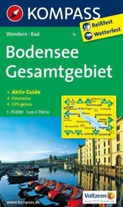 KP-1c Bodensee Gesamtgebiet | Kompass wandelkaart * 9783850267212  Kompass Wandelkaarten   Landkaarten en wegenkaarten Baden-Württemberg, Zwarte Woud, Noordoost- en Centraal Zwitserland