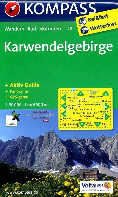 KP-26 Karwendelgebirge | Kompass wandelkaart * 9783850268752  Kompass Wandelkaarten Kompass Oostenrijk  Wandelkaarten Tirol & Vorarlberg