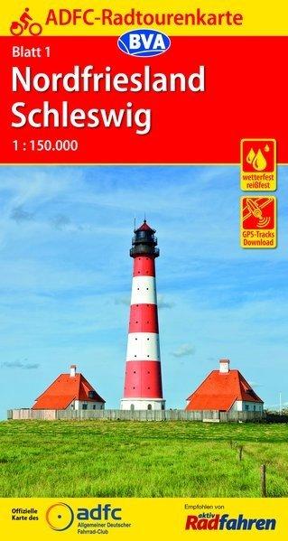 ADFC-01 Nordfriesland/Schleswig | fietskaart 1:150.000 9783870739072  ADFC / BVA Radtourenkarten 1:150.000  Fietskaarten Sleeswijk-Holstein