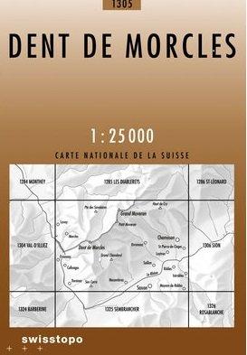 CH-1305  Dent de Morcles [2012] topografische wandelkaart * CH1305  Bundesamt / Swisstopo LKS 1:25.000  Wandelkaarten Wallis