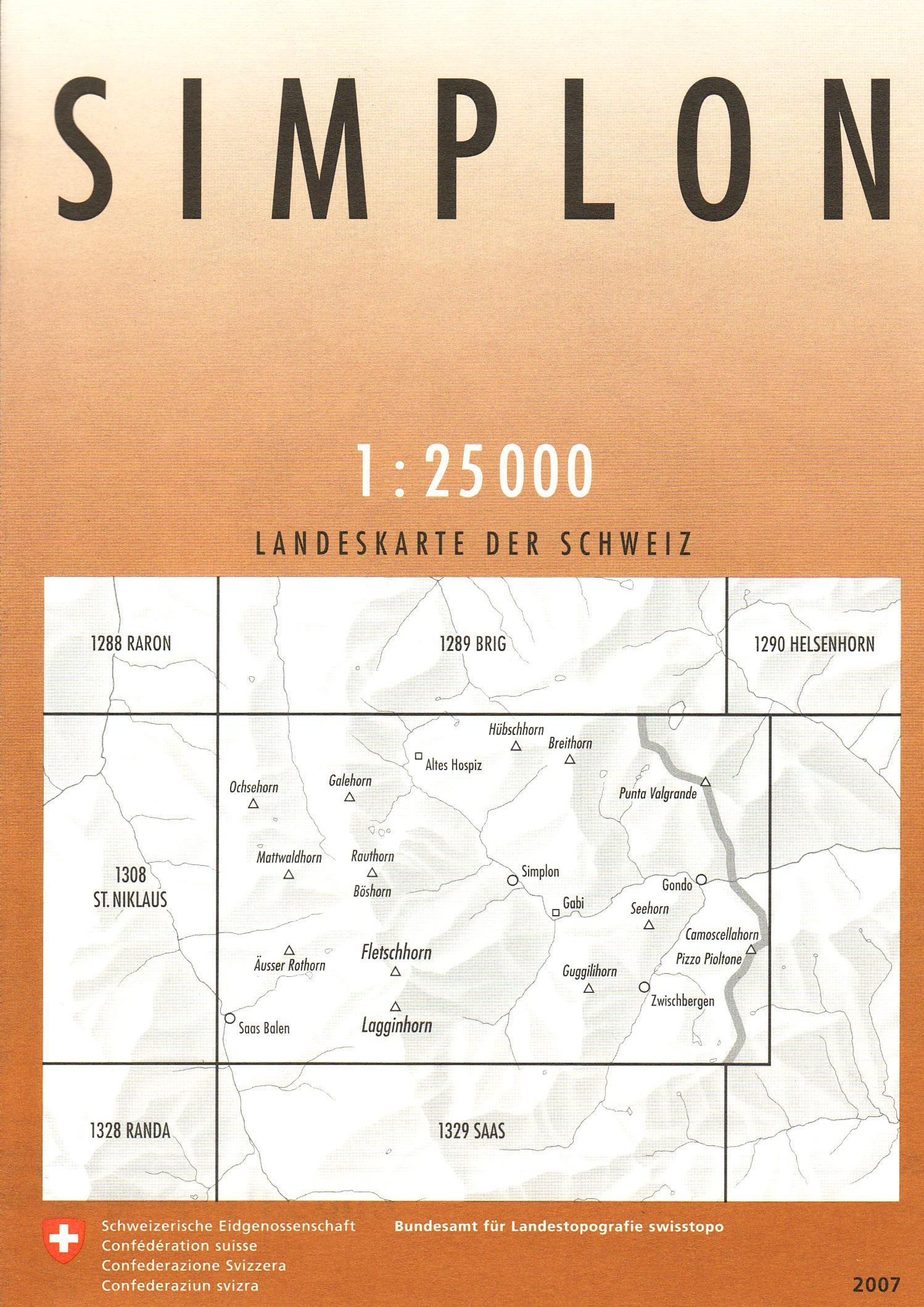 CH-1309  Simplon [2013] topografische wandelkaart * CH1309  Bundesamt / Swisstopo LKS 1:25.000  Wandelkaarten Wallis