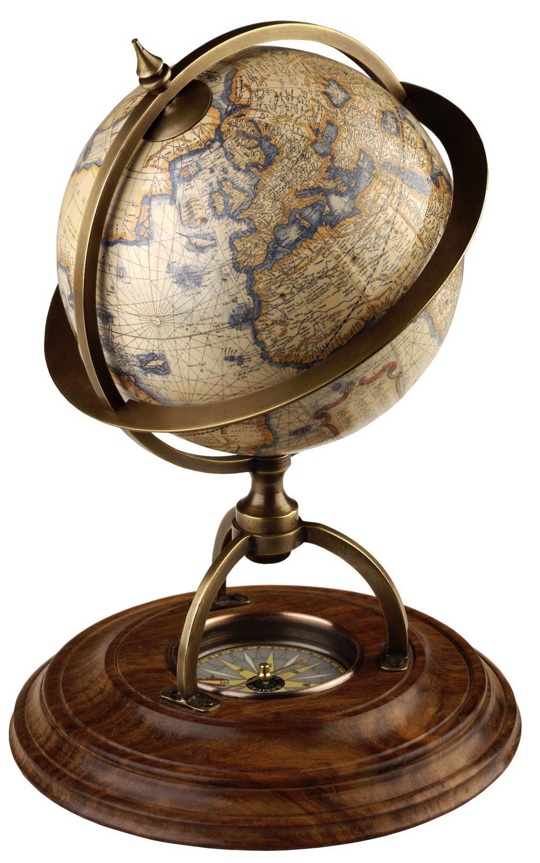 Terrestrial Globe with Compass Globe GL019  Authentic Models Globes / Wereldbollen  Globes Wereld als geheel