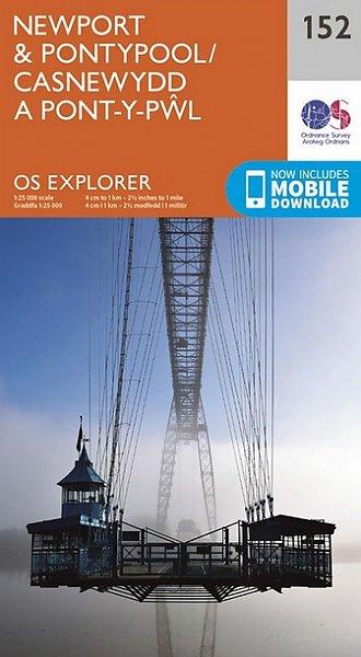 EXP-152 Newport + Pontypool | wandelkaart 1:25.000 9780319243459  Ordnance Survey Explorer Maps 1:25t.  Wandelkaarten Wales