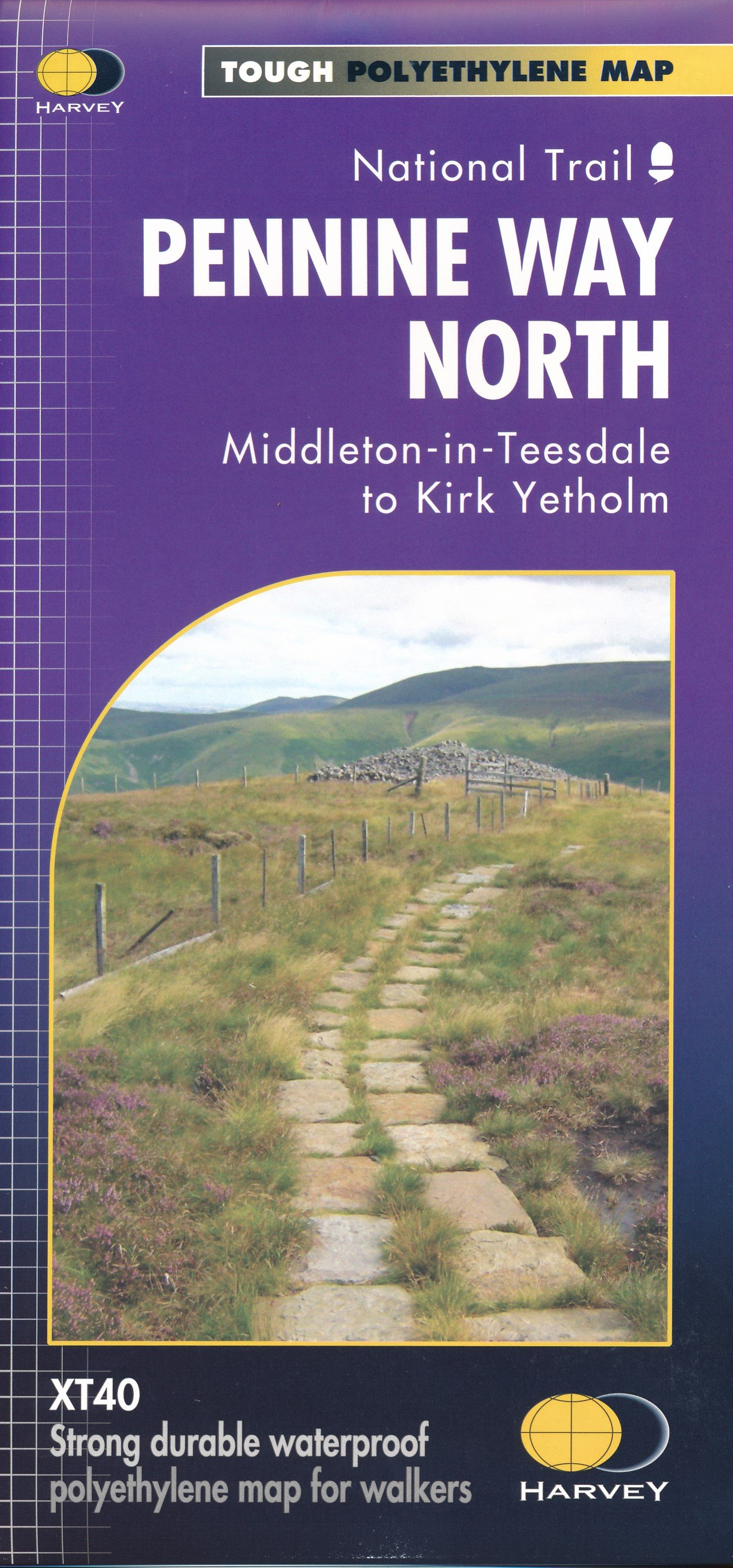 Pennine Way North | wandelkaart 1:40.000 9781851376155  Harvey Maps   Meerdaagse wandelroutes, Wandelkaarten Northumberland, Yorkshire Dales & Moors, Peak District, Isle of Man