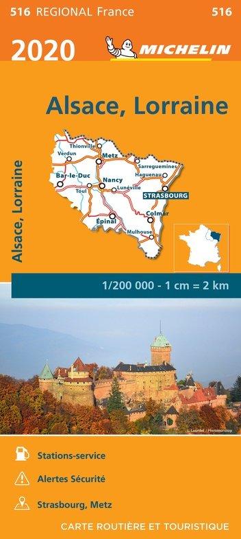 516 Alsace-Lorraine | Michelin  wegenkaart, autokaart 1:200.000 9782067243798  Michelin Regionale kaarten  Landkaarten en wegenkaarten Noord- en Oost-Frankrijk