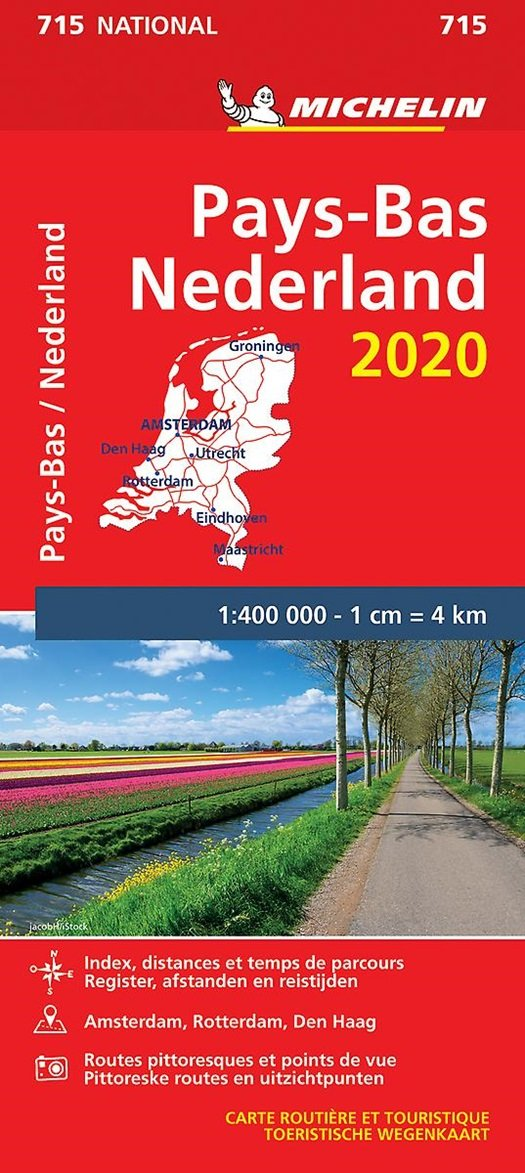 715  Nederland | Michelin  wegenkaart, autokaart 1:400.000 9782067244184  Michelin Michelinkaarten Jaaredities  Landkaarten en wegenkaarten Nederland