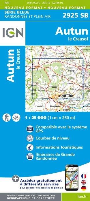 SB-2925SB  Autun, Le Creusot  | wandelkaart 1:25.000 9782758534525  IGN Serie Bleue (vernieuwd)  Wandelkaarten Bourgogne, Morvan, Côte-d'Or