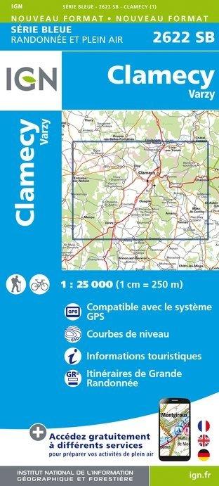 SB-2622SB Clamécy, Tannay, Varzy | wandelkaart 1:25.000 9782758536253  IGN Serie Bleue (vernieuwd)  Wandelkaarten