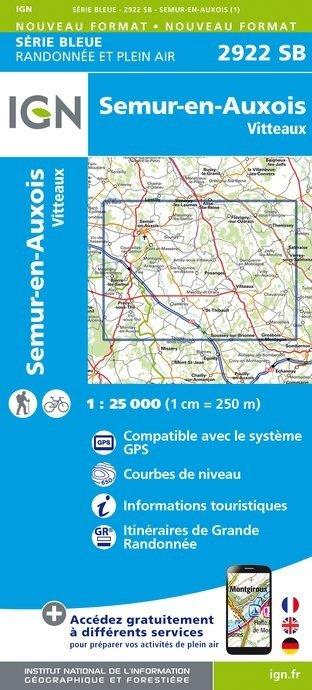 SB-2922SB Vitteaux, Semur-en-Auxois, Précy-sous-Thil | wandelkaart 1:25.000 9782758536284  IGN Serie Bleue (vernieuwd)  Wandelkaarten Morvan
